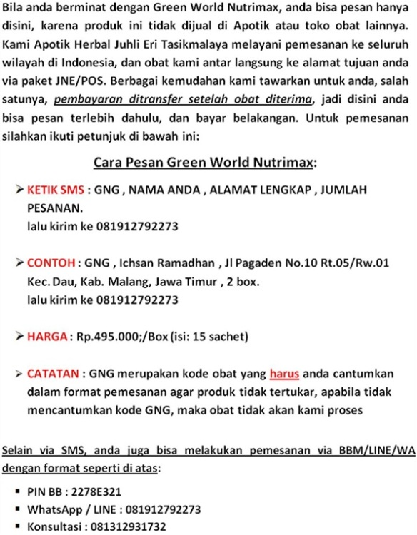 Pemesanan Green World Nutrimax